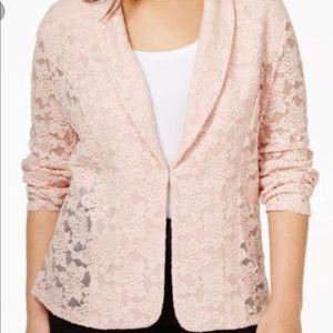 INC Plus Size, Sheer Lace Blazer, Pink 2X